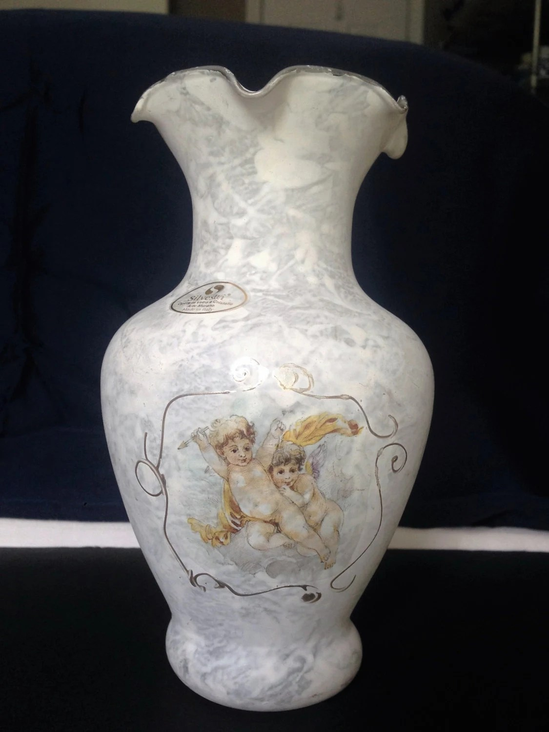 Silvestri Arte Murano Crystal Frosted White Vase Angels
