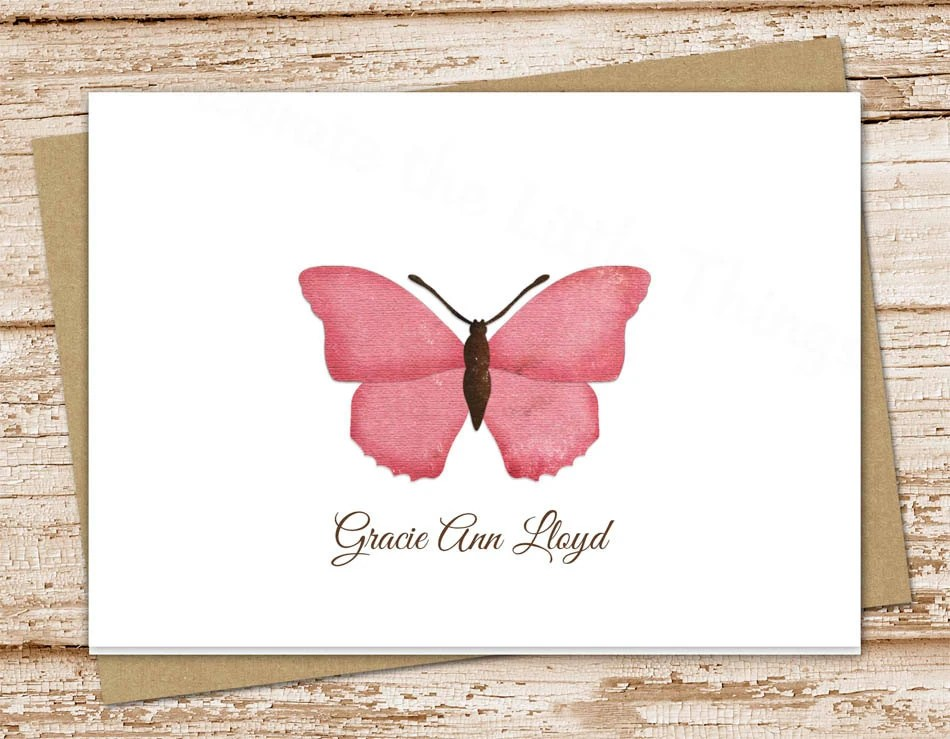 butterfly personalized stationery, stationary  pink butterfly note