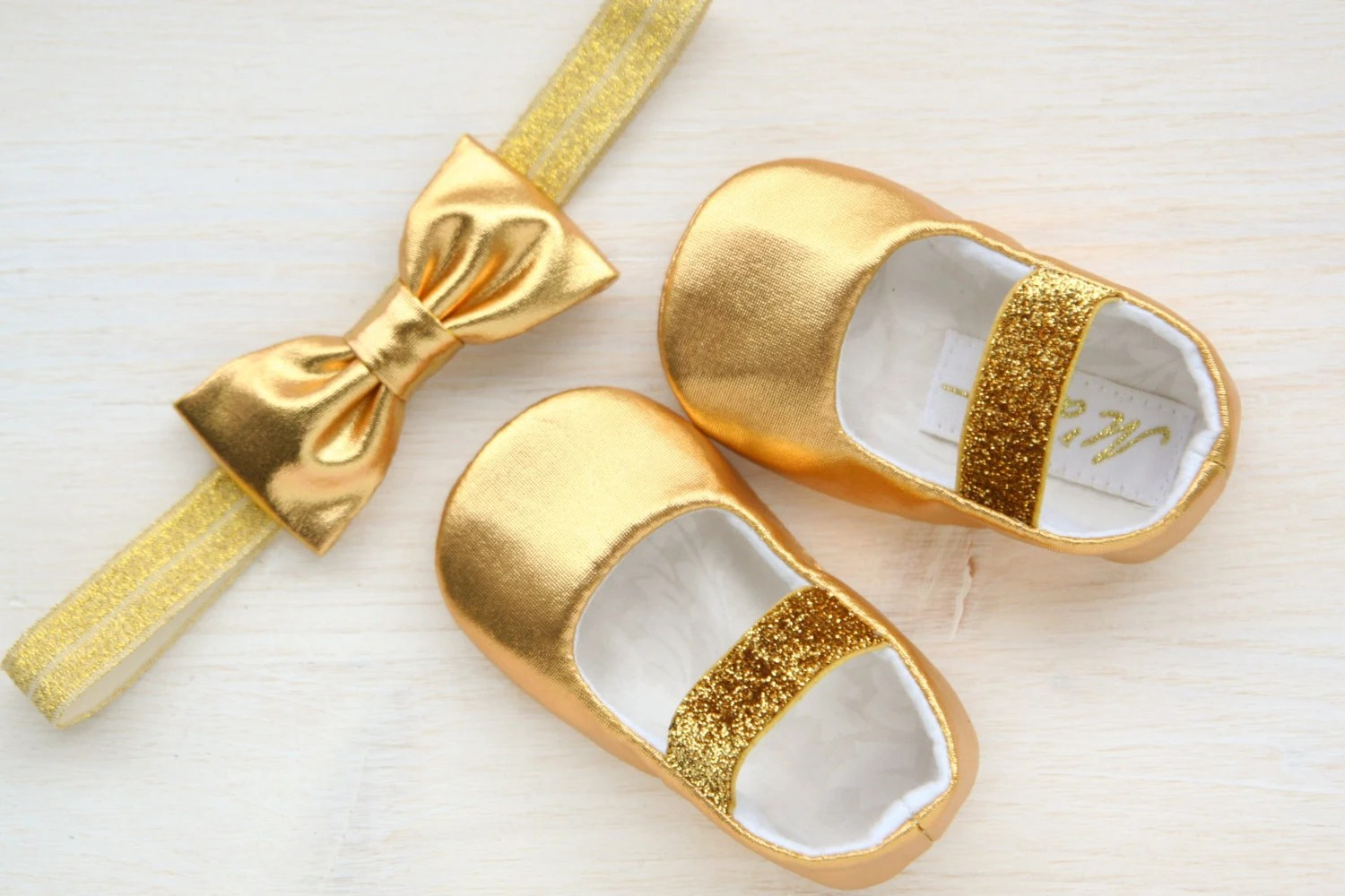Gold Baby Shoes Gold Glitter Baby Girl Shoes And Headband - Gitter Baby
