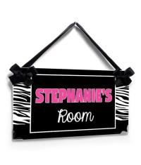 custom girls bedroom door sign zebra print with hot pink
