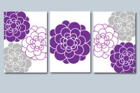 Purple Gray Wall Art Purple Gray Floral Wall by ...