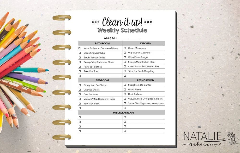 household cleaning list