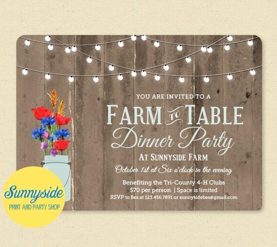 Farm to Table Dinner Invitation, Printable Invitation, Rustic Invite