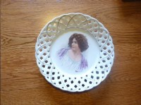 Antique ribbon plate / vintage french Decor by
