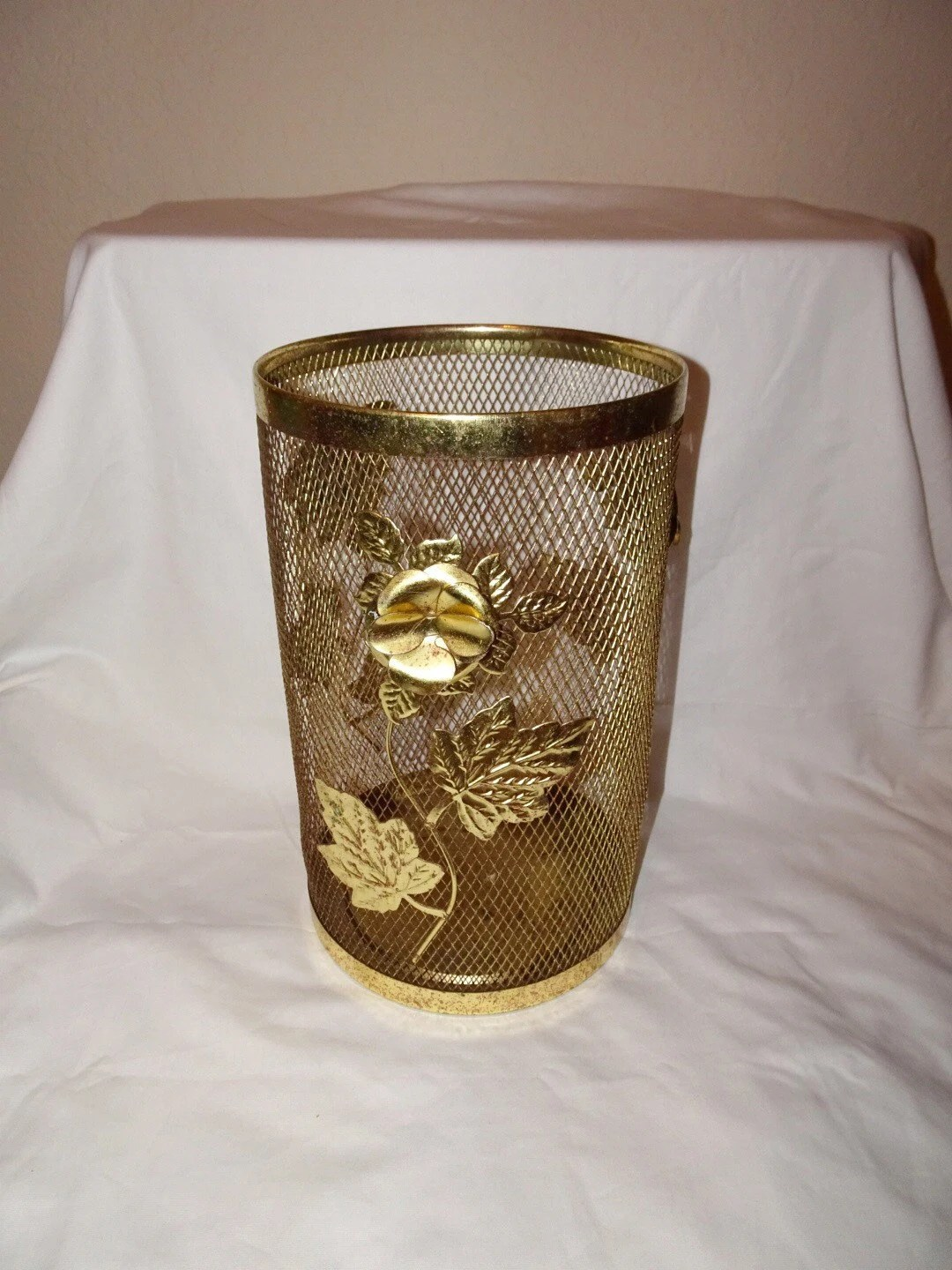 Decorative Metal Waste Baskets Vintage Brass Gold Flower Waste Basket Italian Gold
