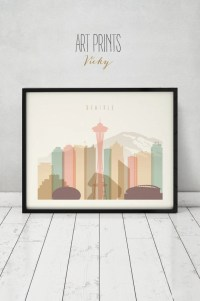 Seattle art print poster Wall art Seattle skyline