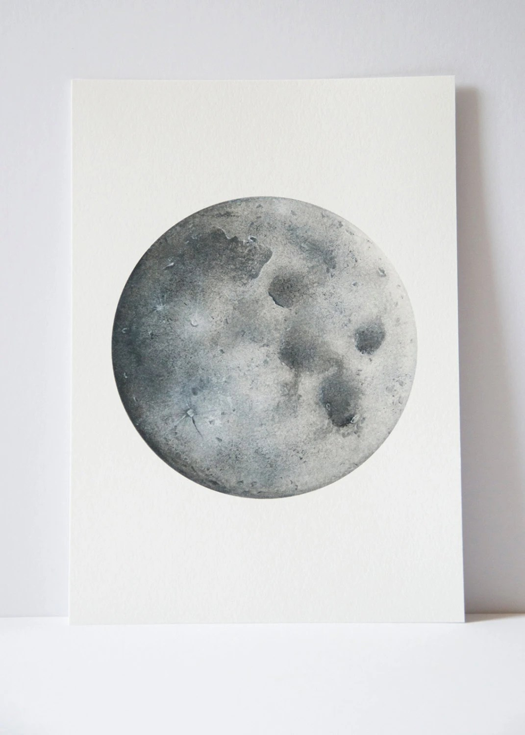 Full Moon Drawing Black And White Watercolour Moon Print Moon Art Space Art Lunar Art Moon