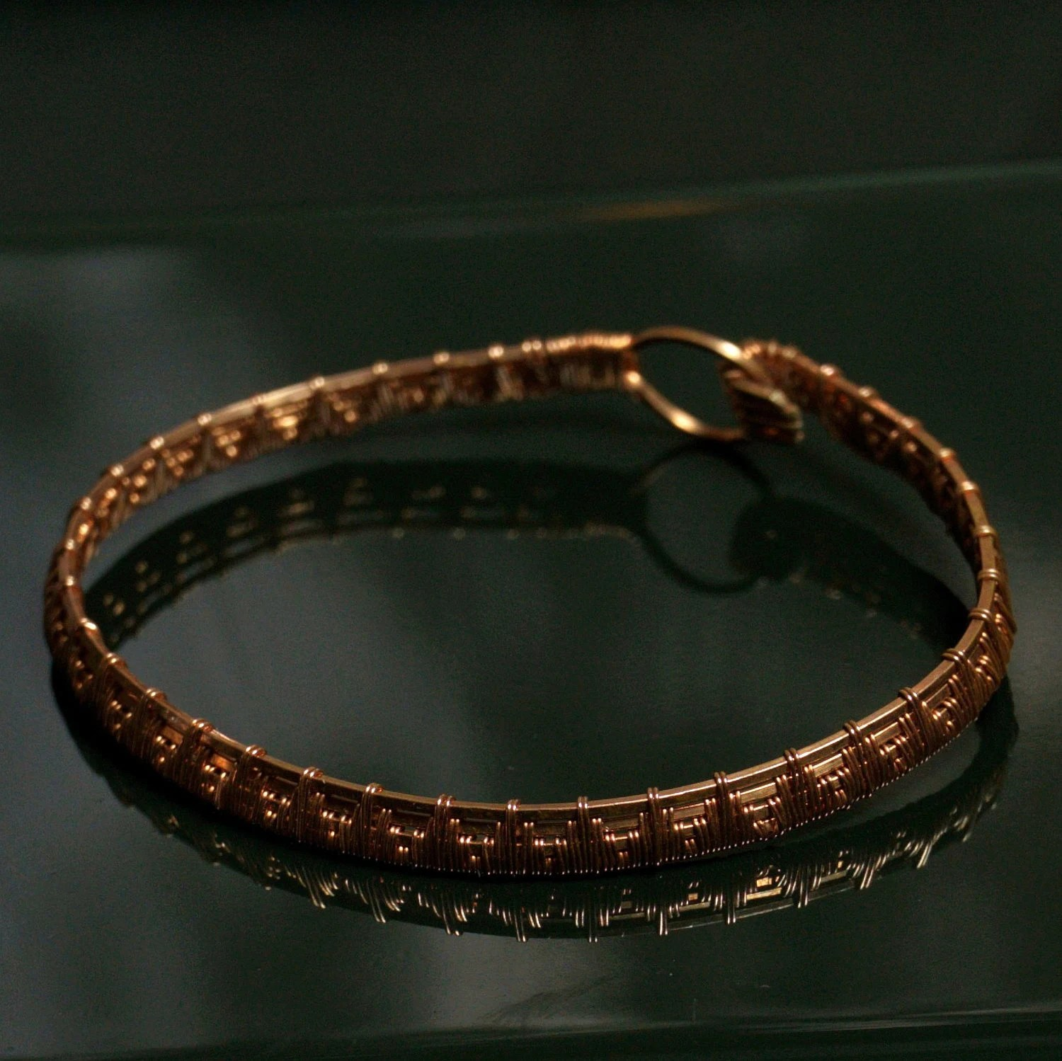 Handmade Copper Wire Wrapped Bracelet With Pyramid Design