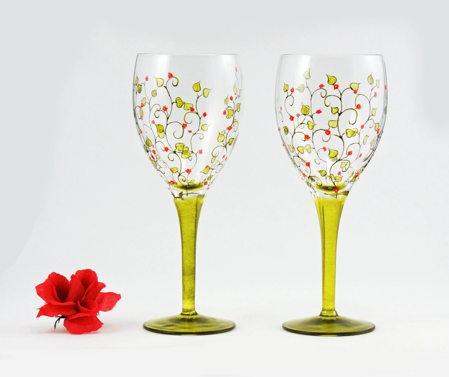 High Quality Wine Glasses Hand Painted Glasses Set Of 2 High Quality White Wine