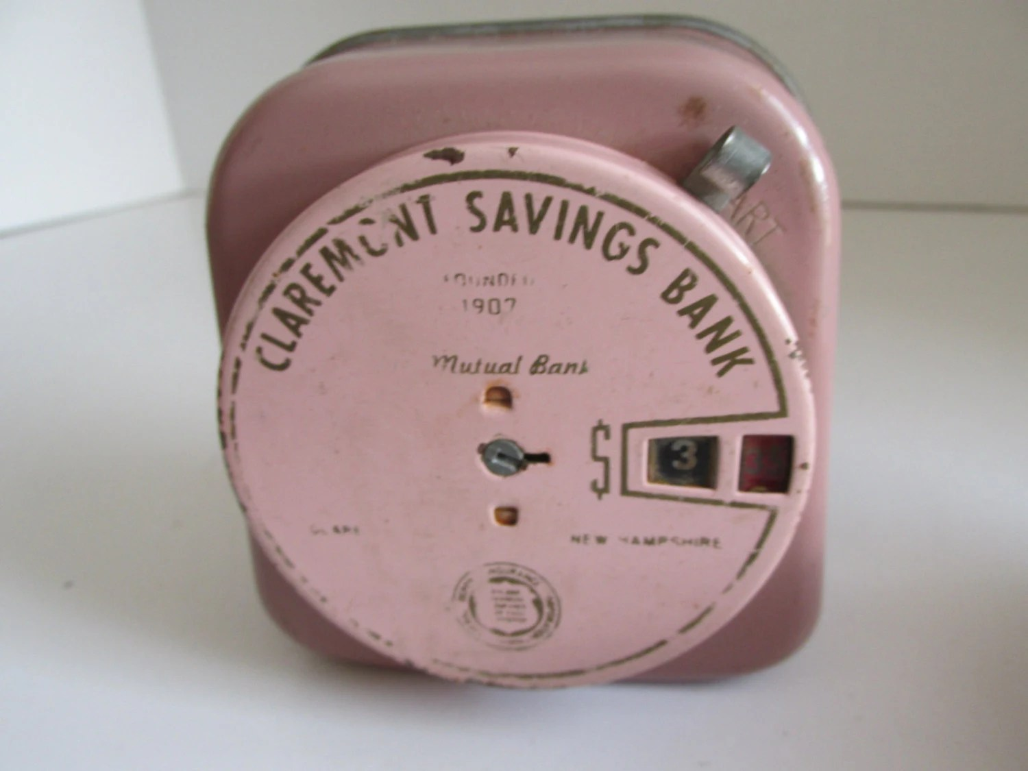 Piggy Bank With Counter Antique Coin Bank Claremont Savings Bank Claremont Nh Vintage