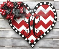 Wood Heart Door Hanger Valentine Gift Monogram Valentine