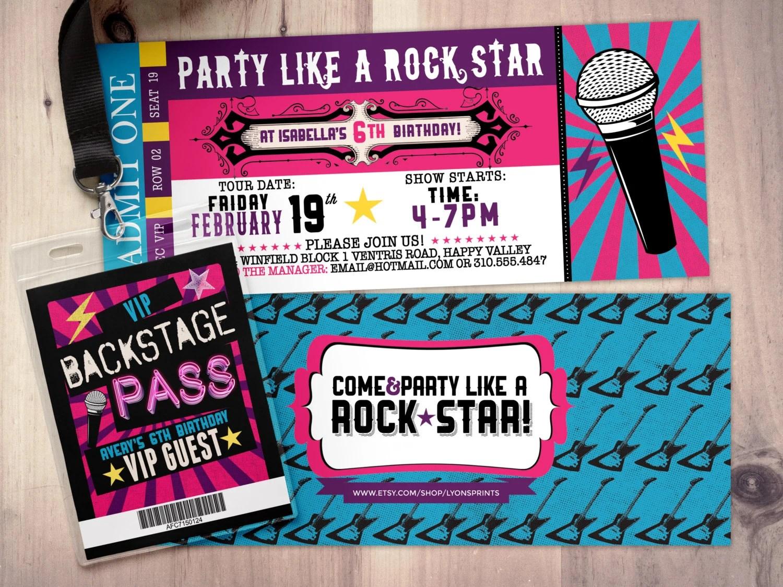 Pop star, Rock Star concert ticket birthday party invitation- Music