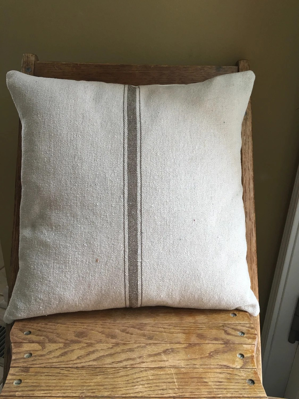 Grain Sack Ticking Pillow Cover Tan Stripe Grain Sack Pillow