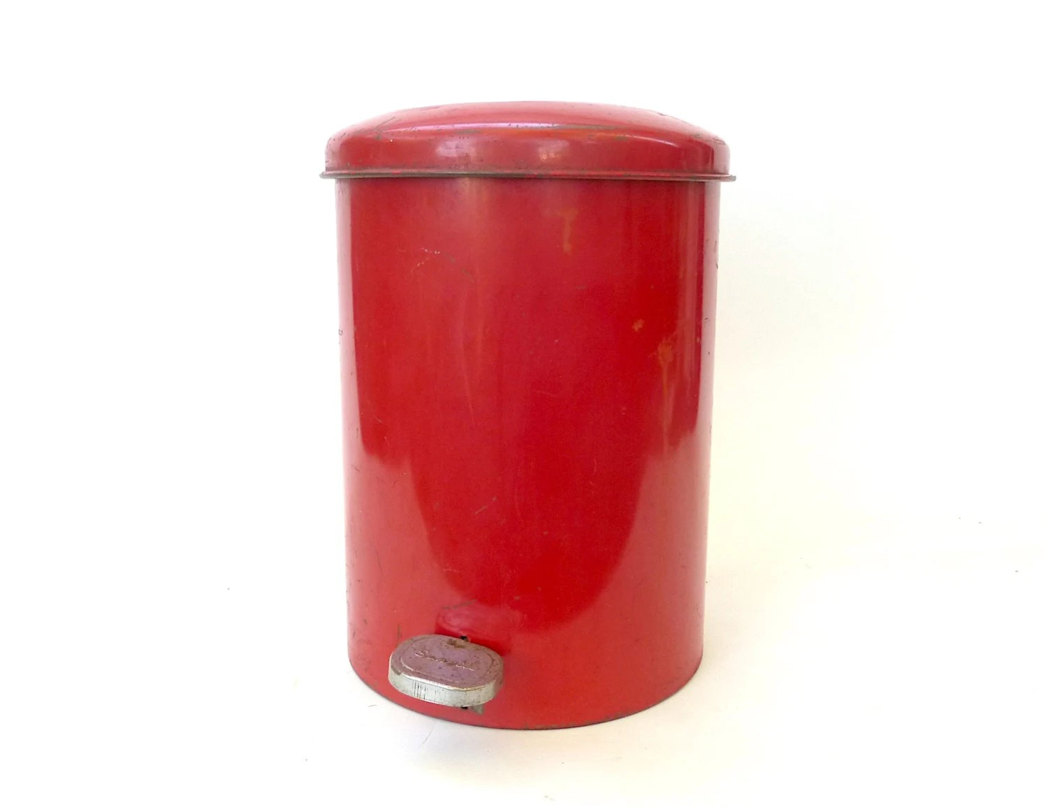 Modern Bathroom Trash Cans Vintage Red Metal Sanette Industrial Waste Basket With Lid