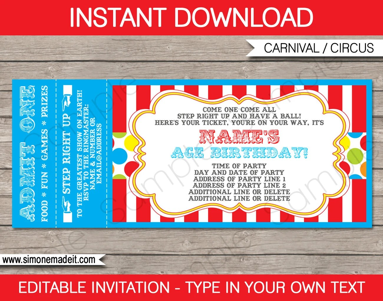 Carnival Party Ticket Invitation Template - Birthday Party Invite - party ticket template