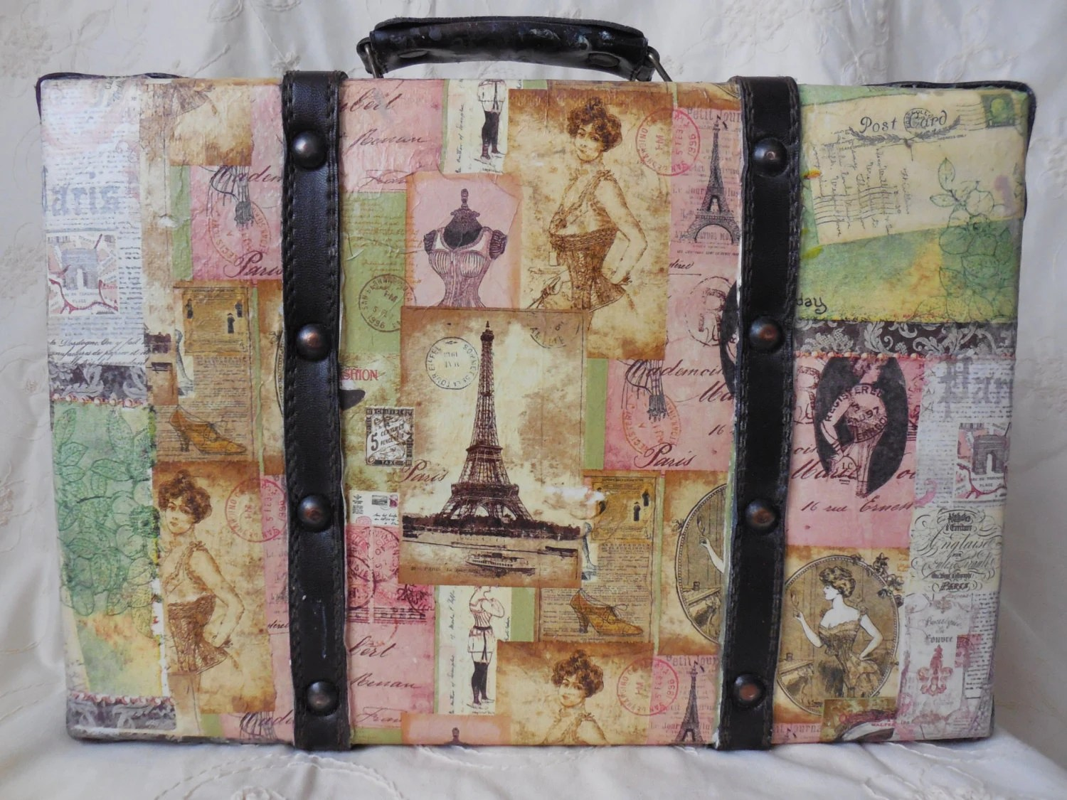 Vintage Decorative Suitcases Altered Upcycled Small Decorative Suitcase Vintage Style Paris