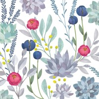 Succulent Floral Wall Mural Floral Scene Wallpaper Garden