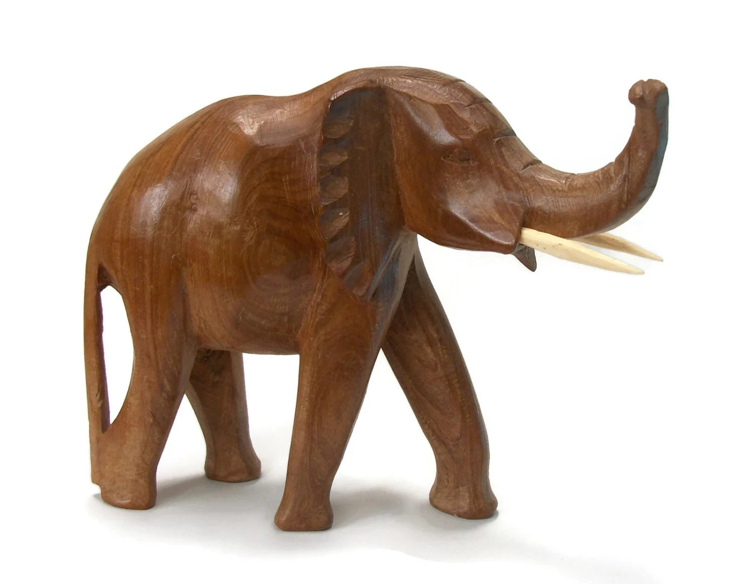 Wooden Elephants Figurines Large Heavy Hand Carved Wooden Elephant Sculpture Figurine
