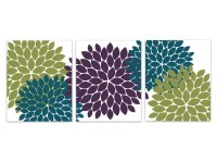Home Decor Wall Art Purple Green and Teal Flower Burst Art
