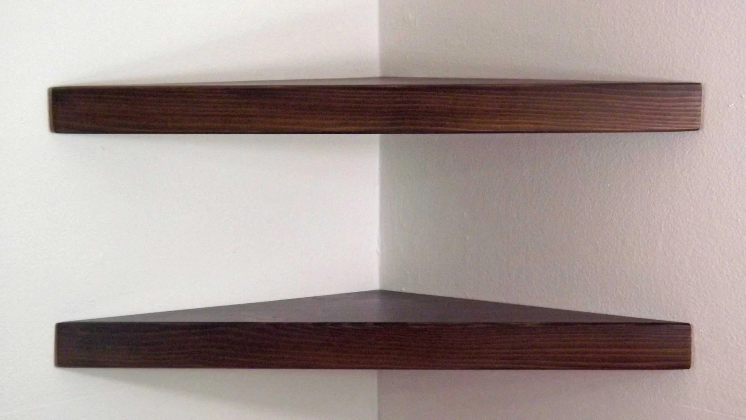 Set Of 2 22 Inch Floating Corner Shelves With Espresso Stain