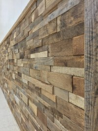 Reclaimed Barn Wood Stacked Wall Panels DIY by ...