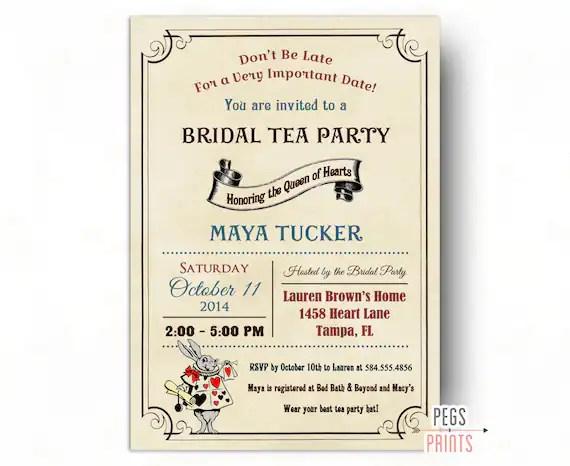 Vintage Mad Hatter Bridal Shower Invitation   Printable Queen of