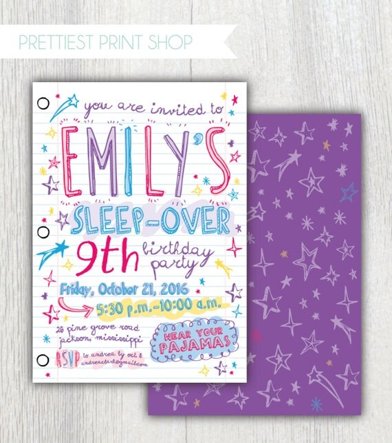 Printable sleepover invitation - Notebook paper - Doodles invitation
