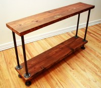 Reclaimed Wood and Gas Pipe Side Table Console Table or Bar