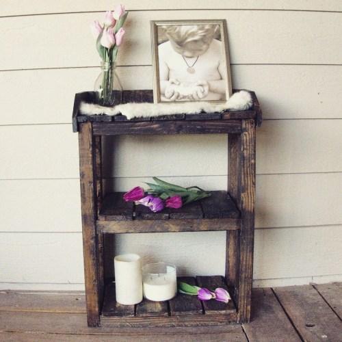Medium Of Wooden Bathroom Shelf