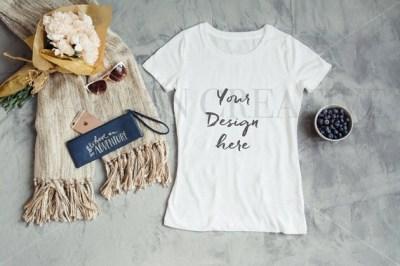White T-Shirt Mockup Gray Background Digital Shirt Stock