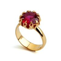 CROWN Gold Ruby Ring Ruby Engagement Ring Ruby Promise Ring