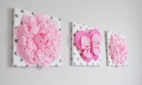 Butterfly and Flower Wall Art. 3D Butterfly and Dahlias. Pink
