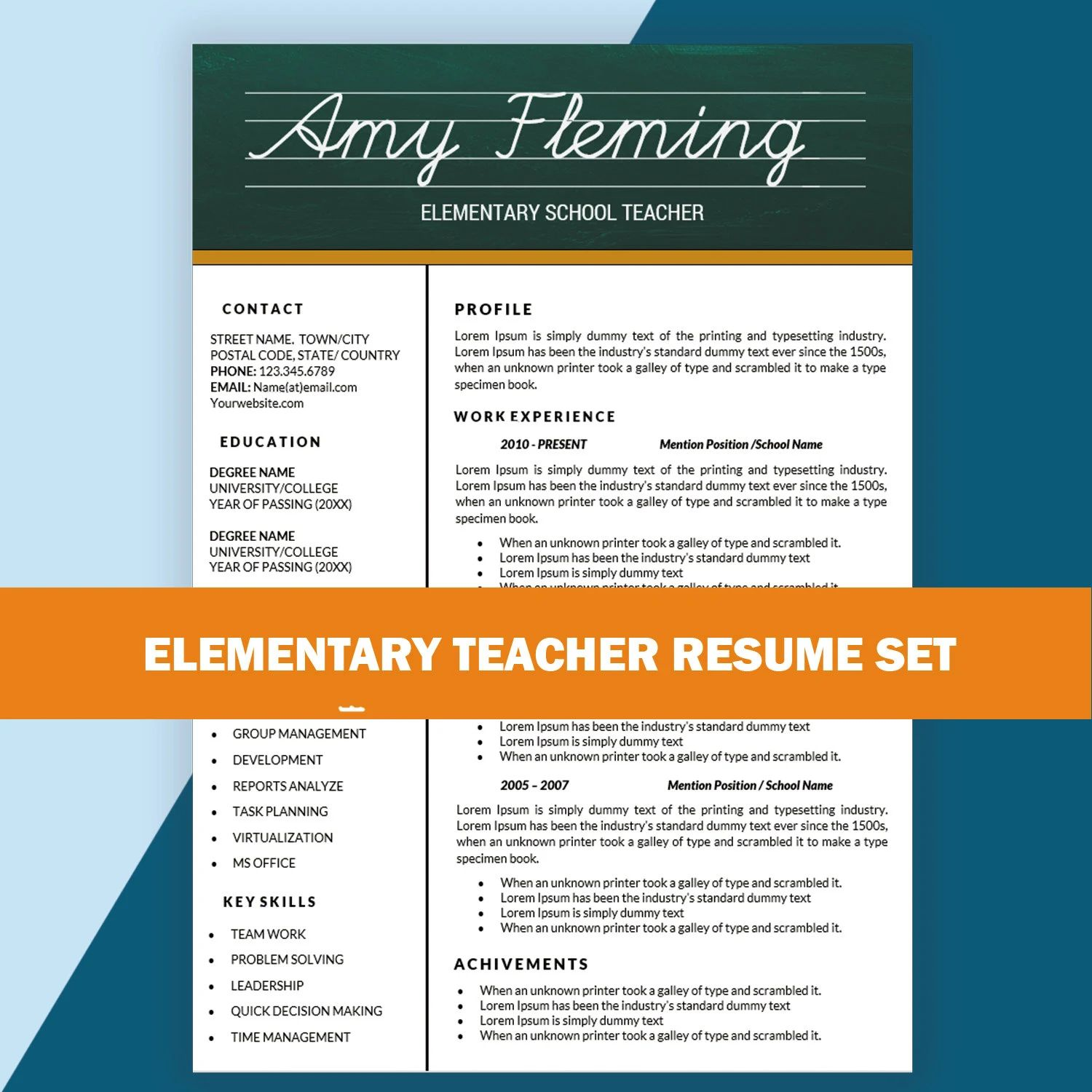 teacher cv template word