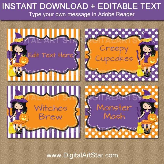 Halloween Buffet Cards Template - EDITABLE Halloween Candy Buffet