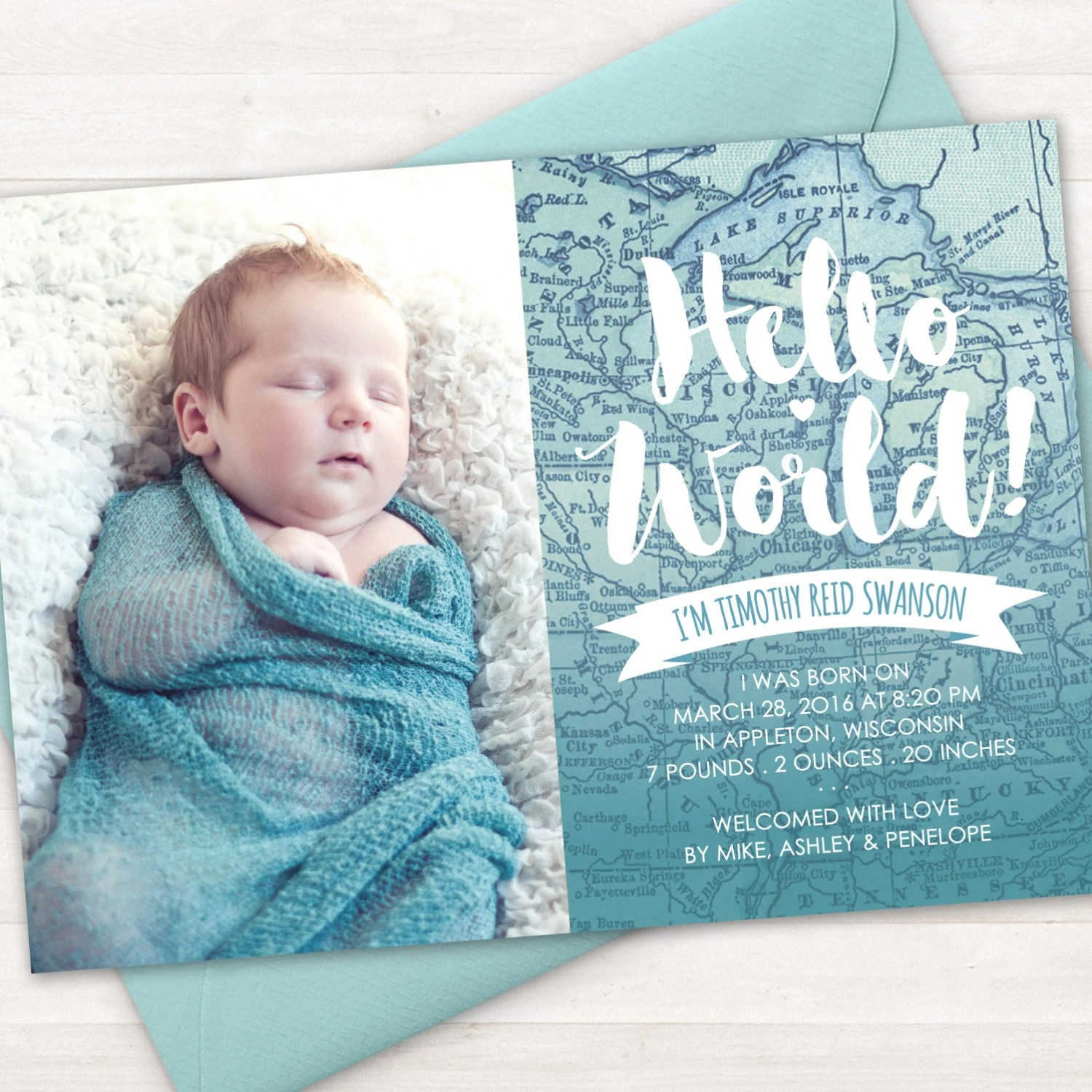 Birth Announcement, Baby Birth Announcement Card, Baby Boy, Baby