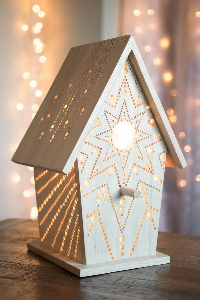 Starburst birdhouse night light woodland by lightingbysara
