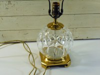 Vintage Waterford Lismore Brass and Crystal Globe Lamp