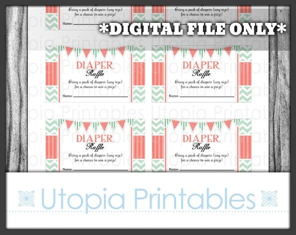Coral Mint Chevron Diaper Raffle Ticket Card Insert Baby Shower - raffle ticket print out