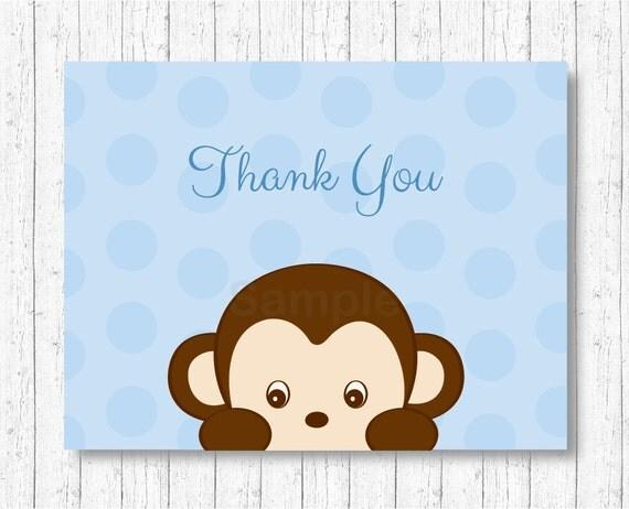 Cute Monkey Thank You Card / Monkey Baby Shower / Blue Monkey / Boy