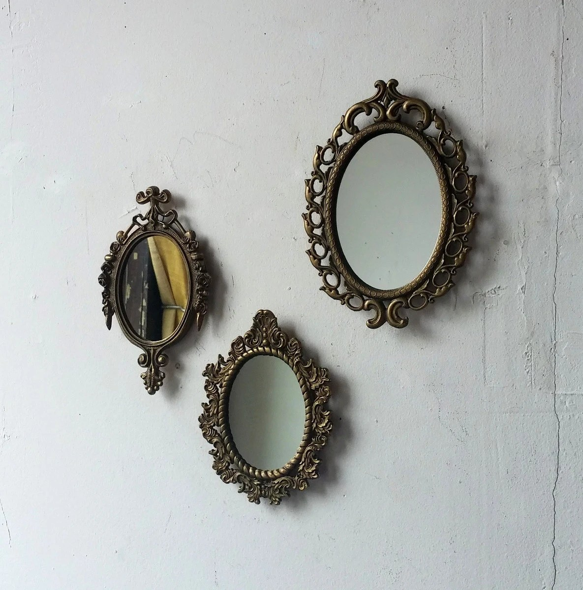 Small Gold Mirror Set Vintage Gold Mirror Set Small Decorative Mirrors Oval