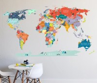 Wall Decal World Map interactive map Wall Sticker Room