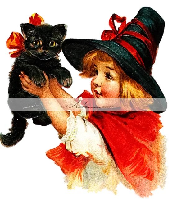 Sweet Little Witch with Black Cat Vintage Antique Card Art Image