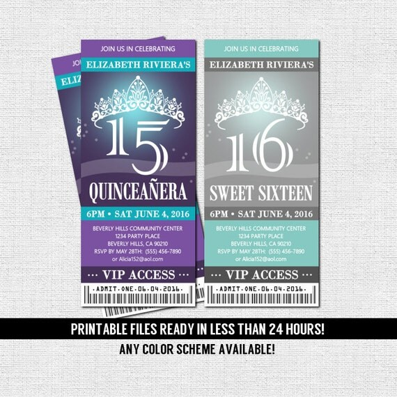 QUINCEANERA or SWEET 16 TICKET Invitations Any Color Scheme - printable ticket invitations