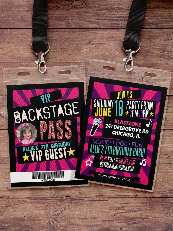 birthday invitation, rock star, VIP PASS, backstage pass, concert