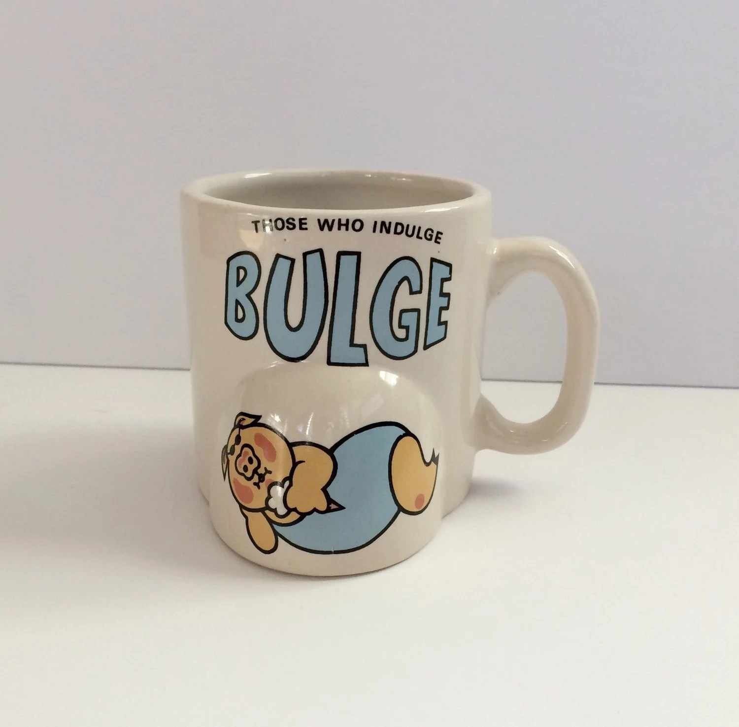 Odd Shaped Coffee Mugs Those Who Indulge Bulge Unique Coffee Mug By Rainbowthrifters