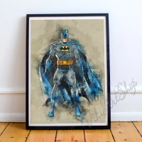 Superhero Batman watercolor Art Poster Wall Art Home Decor