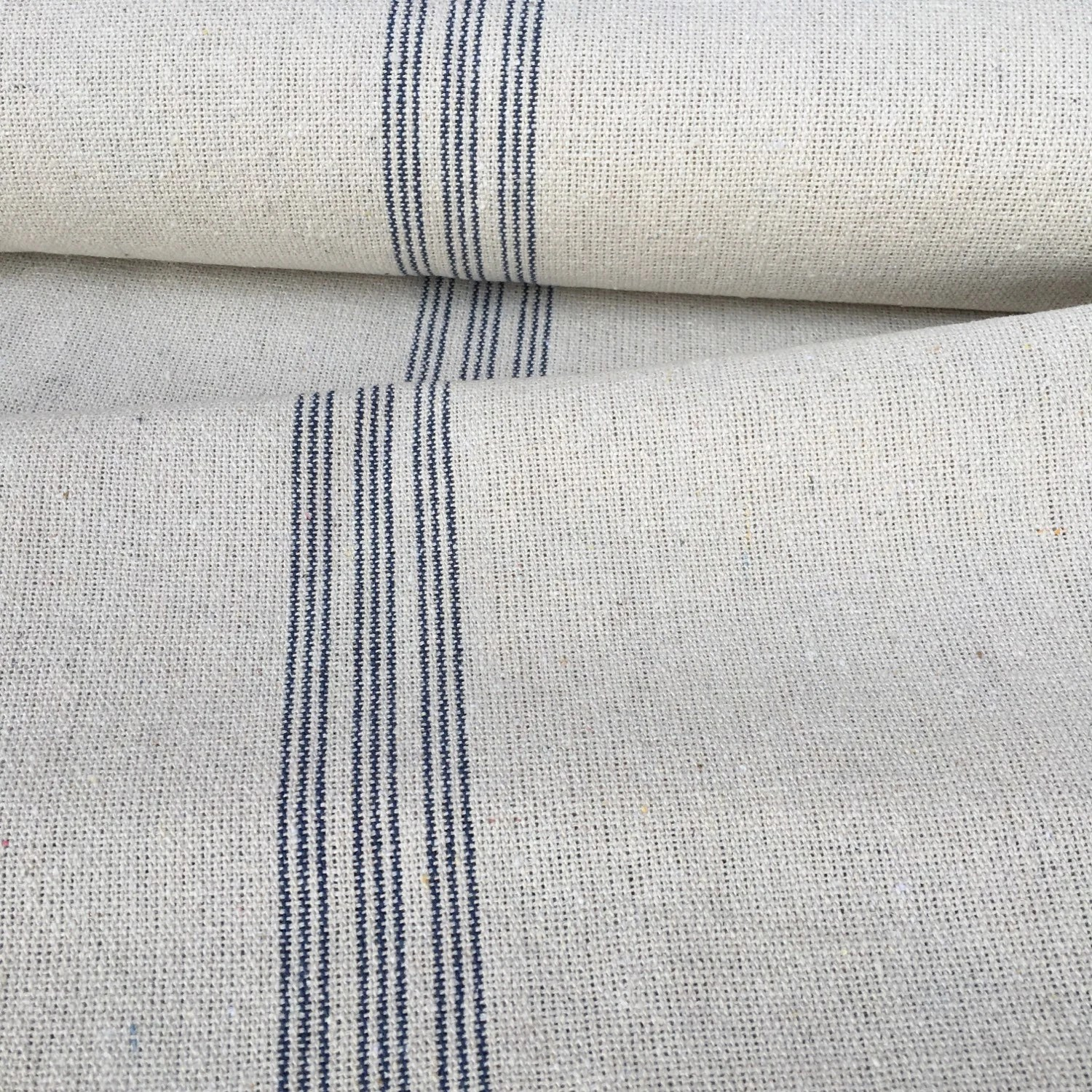 Flour Sack Fabric By The Yard Grain Sack Fabric Blue Stripe Vintage Inspired By