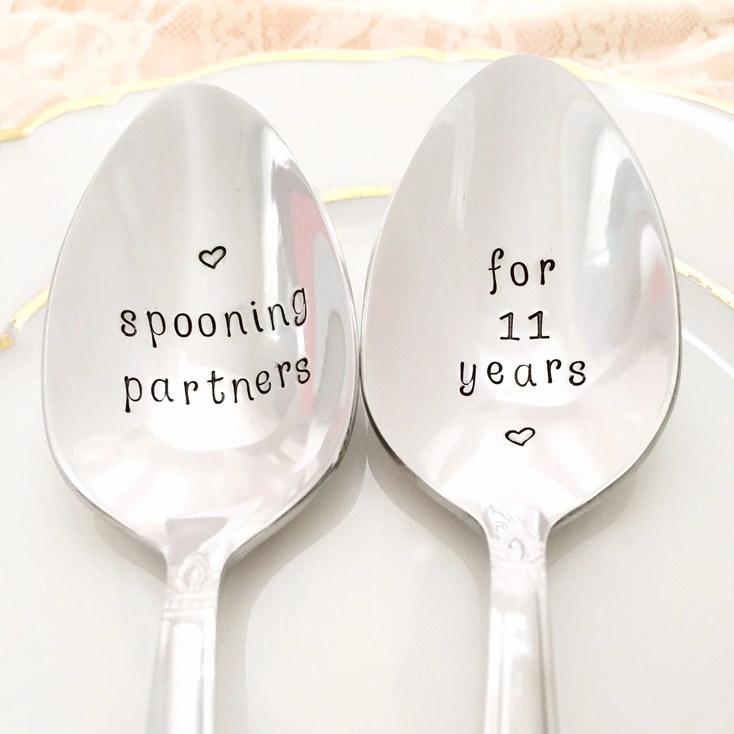 11th Anniversary Gift Traditional Stainless Steel Spoons