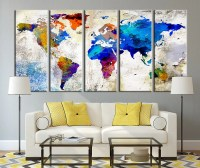 World Map Canvas Print Large Wall Art World by ...