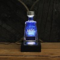 1800 Tequila Bottle Lamp & Glorifier Reclaimed Wood Base LED